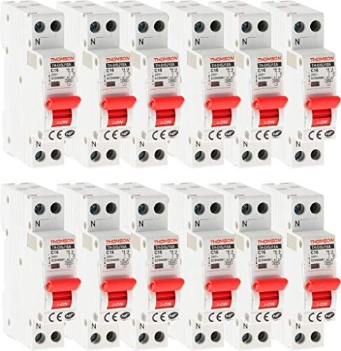 Lot de 12 Disjoncteurs à vis PH+N - 16A NF - Pouvoir de coupure 4.5KA - Thomson
