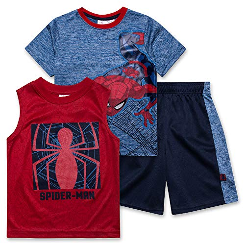 Spiderman Shirt Tank Top & Shorts 3 Piece Set Summer Activewear Bundle Clothes for Boys - Star Sapphire/Size: 5/6