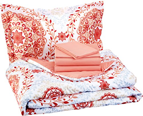 AmazonBasics 5-Piece Light-Weight Microfiber Bed-In-A-Bag Comforter Bedding Set - Twin or Twin XL, Coral Medallion