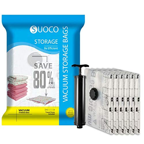 SUOCO Vacuum Storage Bags 6 Pack, Space Saver Compression Bags with Hand Pump, Small (24 x 16 inch)