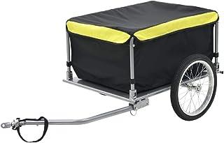 comprar comparacion Tidyard Remolque de Carga para Bicicletas Carros para Bicicletas Negro y Amarillo 65 Kg Acero y Tejido 100% Poliéster 136 ...