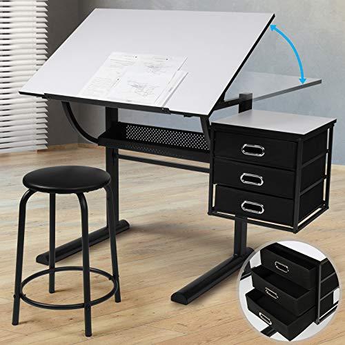 Table à Dessin - Plateau Inclinable, avec Tabouret, 3 Tiroirs, Structure en Acier, Noir-Blanc - Bureau à Dessin, pour Architecte, Artiste
