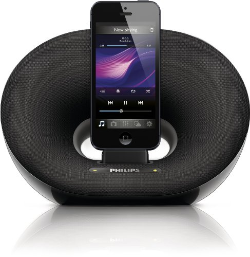 Philips DS3205 - Altavoz con puerto dock de 10 W para iPhone 6 / iPhone 6 plus/ iPod nano 7 / iTouch 5, negro