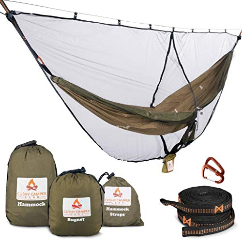 Cushy Camper Premium Hammock with Bug Net and Tree Straps  Camping Sleep System with Net Combo  Durable Mosquito Net Keeps Bugs Out  Hammock Camping Kit with Adjustable Width for Comfort