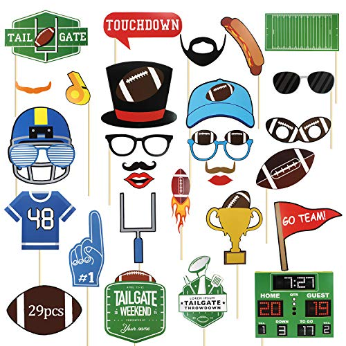 29-teiliges Super Bowl Sonntags-Foto-Requisiten-Set – Sport American Football Motto Geburtstag Party Dekor – NFL Game Day Rugby Selfie Dress Up Requisiten Dekoration