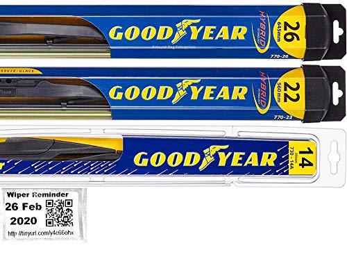 Windshield Wiper Blade Set/Kit/Bundle for 2007-2009 Lexus RX350 - Driver, Passenger Blade & Rear Blade & Reminder Sticker (Hybrid with Goodyear Rear)