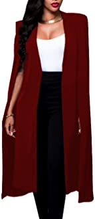 Women's Long Open Slit Sleeve Trench Cloak Capes Jacket Open Front Long Slit Crepe Blazer Cape Coat