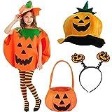 YUESEN Kürbis Kostüm Verkleidungen für Kinder,Halloween - Karneval,Kinder Kürbis Halloween Kostüm,Orange Farbe(5 PCS)