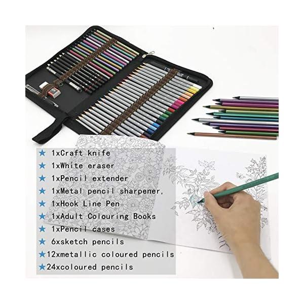 Lápices de Colores para Dibujo Profesional,Set Dibujo Artistico – 48 Colores únicos para Libro de Colorear para Adultos – Regalo Ideal para Artistas, Adultos y Niño