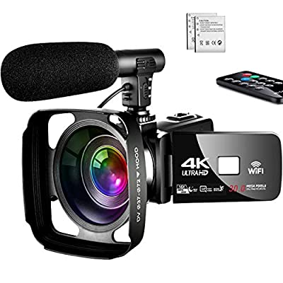 4K Video Camera Camcorder,Vlogging Camera for YouTube Camcorder Ultra HD 4K 16X Digital Zoom 3.0 Inch Touch Screen Camcorder with Night Vision & Mic from SAULEOO