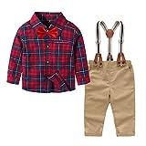 4Piezas Ropa Bebe niño Conjuntos Camisa de Cuadros de Manga Larga + Pajarita + Pantalones + Correa, Infantil niños Trajes Conjunto de Fiesta Boda Bautizo(Rojo Beige,12-18 Meses)