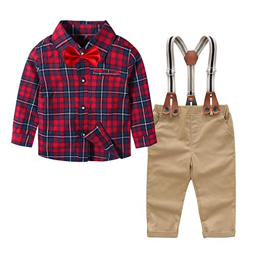 Traje - para niño Boda de Ropa Bebe Camisa de Cuadros de Manga Larga + Pajarita + Pantalones + Correa Boda Ceremonia Infantil Navidad(Rojo Beige,9-12 Meses)