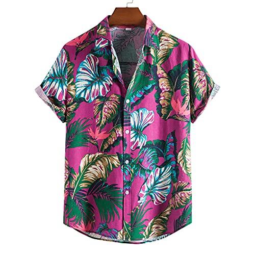 Nuevo 2021 Hombre Camisas, Manga Corto Casual Impresión verano Camisa de Moda Blusa tops Botón Hawai Original Ligero y transpirable Playa Suelto shirt Vacaciones T-shirt suave básica camiseta Top