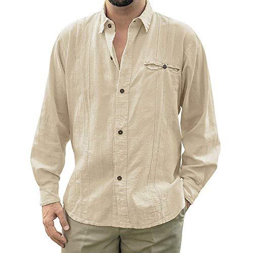 Camisas holgadas deManga Larga de Lino de Guayabera de Campamento Cubano de AjusteHolgadopara Hombre, Camisas Informales con Botones para laPlaya, Camisas transpira