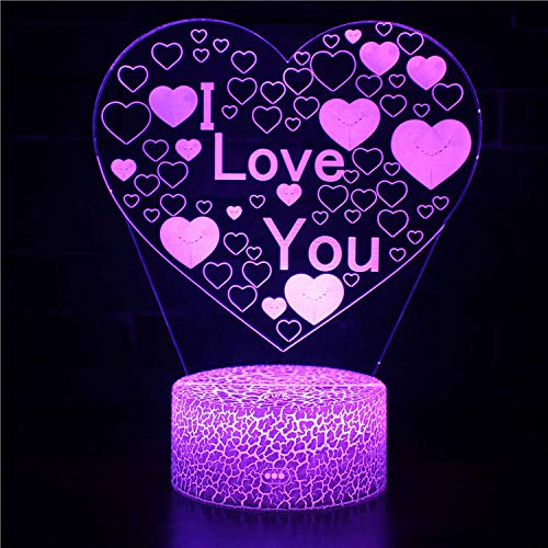3D Night LightI Love You 2 3D ilusión noche lámpara Arylic cristal RGB cambiable LED estado de ánimo lámpara para cumpleaños vacaciones un regalo