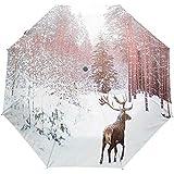 Ombrello con apertura automatica a 3 pieghe, chiusura a vento, con stampa di alberi di cervi africani