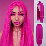 Aubree Hair Hot Pink Wigs for Women Soft Pink Wig Lace Frontal Long Silky Straight Synthetic Lace Front Wig Rose Red Wig with Baby Hair Replacement Heat Resistant Wig For Fashion Women