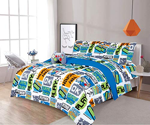 LinenTopia 6 Piece Twin Size Boys Kids Teens Comforter Set Bed in Bag, Shams, Sheet Set & Decorative Toy Pillow, Kids Comforter Bedding w/Sheets, Video Games Gaming, Blue/Green, (T, 6pc, Game)