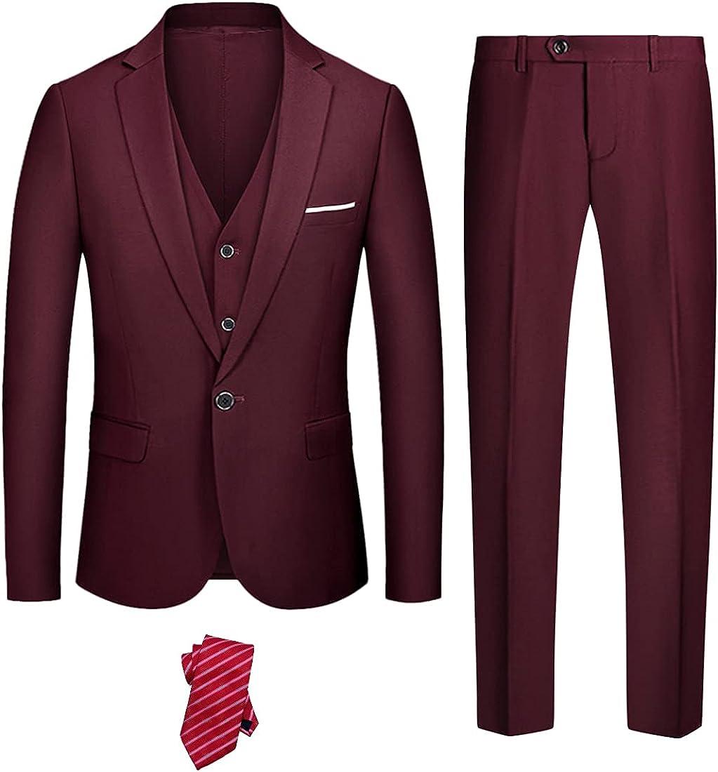 YND Men's Slim Fit 3 Recommended Piece Suit Ves Solid Button One Set Blazer Trust