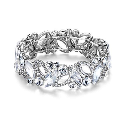 EVER FAITH Armband Hochzeit Braut Marquiseschliff Strass Kristall Elastisch Armreif für Damen Klar Silber-Ton
