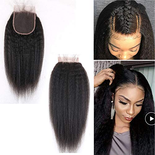 8'Italian Coarse Yaki Straight Curly Lace Closure Afro Kinky Straight Human Hair 4'x4'Top Closures Piece with Baby Hair For Black Women