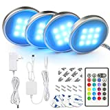 BASON RGB Under Cabinet Lighting, Remote Control LED Puck Lights, Wired Multi Color Changing, Dimmable, Adaptor Powered Shelf Decorative for Kitchen Cabinets Counter, Glass Cabinets, Bookshelf 4 packs
