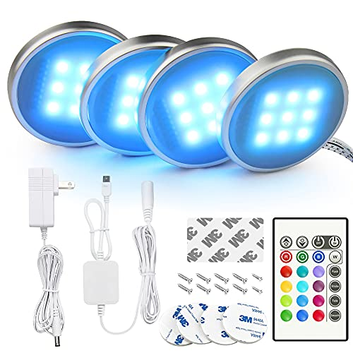 BASON RGB Under Cabinet Lighting, Remote Control LED Puck Lights, Wired Multi Color Changing, Dimmable, Adaptor Powered Shelf...