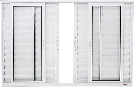 Janela Veneziana 6 Folhas em Alumínio 100 x 120 x 8,4 cm Branco Boldie Prado Alumínio
