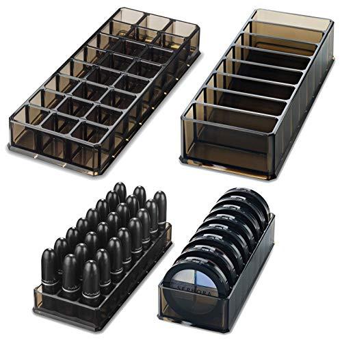 byAlegory Acryl Lippenstift & Acryl Compact Makeup Organizer Set für Bronzer Highlighter Puder & Rouge 32 Platz nachfüllbar Kosmetik Aufbewahrung – Schwarz Klar
