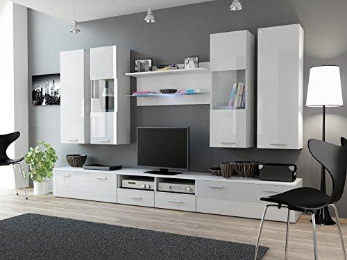 Wohnwand 'Dream II' Hochglanz Wohnzimmer Tv Wand , Farbe:weiß matt / weiß Hochglanz