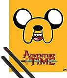 1art1 Hora De Aventuras Pster Mini (50x40 cm) Adventure Time, Jake Y 1 Lote De 2 Varillas Negras