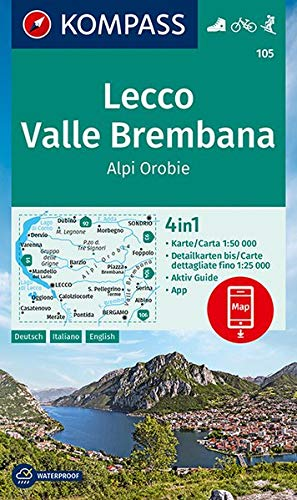 KOMPASS Wanderkarte 105 Lecco, Valle Brembana, Alpi Orobie: 4in1 Wanderkarte 1:50000 mit Aktiv Guide und Detailkarten inklusive Karte zur offline ... in der KOMPASS-App. Fahrradfahren. Skitouren.