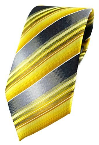 TigerTie Designer Krawatte in gelb gold silber anthrazit grau gestreift
