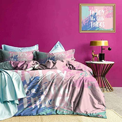 Juegos de Ropa de Cama Juego de Funda nórdica Ultra Suave con Eslogan de Color Grunge para decoración de Dormitorio