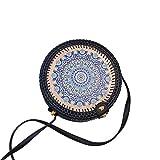 SMIRK SUMER Rattantasche runde Korbtasche Handmade böhmische Umhängetasche für Frauen(Strohtasche, Strandtasche, Ata Bali Bag)
