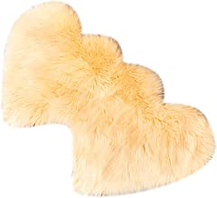 Flameer 2pcs Heart Shaped Area Rug, Chair Cover Rug/Shaggy Area Rugs - Beige