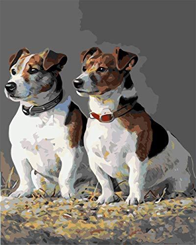 Pintar por Numeros Adultos, Collar y perro DIY Pintura por Números con Pinceles y Pinturas-16 * 20 Pulgadas, Sin Marco