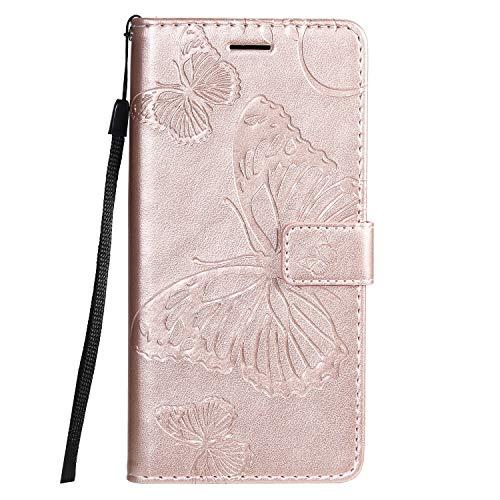 Hülle für LG G8X / V50S ThinQ Hülle Handyhülle [Standfunktion] [Kartenfach] [Magnetverschluss] Tasche Flip Case Cover Etui Schutzhülle lederhülle klapphülle für LG G8X - DEKT041377 Rosa Gold
