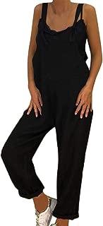 FONMA Womens Linen Long Playsuit Dungarees Harem Pants Ladies Overall Jumpsuit