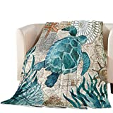 T&H XHome Luxury Quilted Comforter Bedspread-Thin Soft Cozy,Sea Turtle Ocean Animal Nautical Map Reversible Stitched Summer Lightweight Quilt Coverlet for All Season King Size