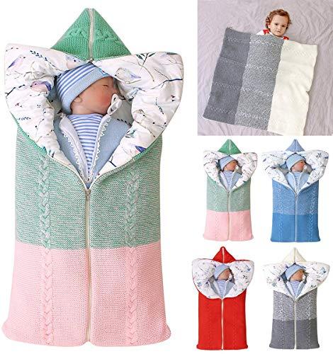 Manta Envolvente para Saco De Dormir para Bebé, Tejido De Ganchillo, Manta Envolvente, Manta Envolvente Cálida, Saco De Dormir, Accesorio De Fotografía para Recién Nacidos Durante 0-12 Meses,Rosado