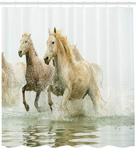 123456789 witte douchegordijn Camargue paarden in waterdruk voor de badkamer