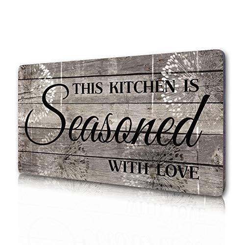 """Rustic Kitchen Decorations Wall Art, Farmhouse Kitchen Decor-This Kitchen is Seasoned with Love-Printed Wood Plaque Kitchen Signs Wall Decor 16"""" x 8"""""""