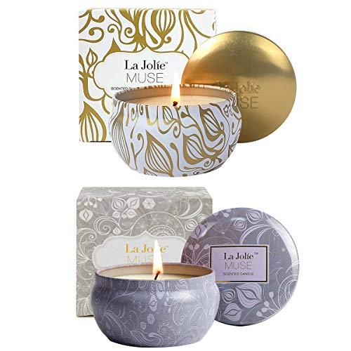 La Jolíe Muse Duftkerzen 2er Set Vanille Kokosnuss & Blauer Lotos 100% Sojawachs Aromatherapie Kerze, 185g 45Std jeweils