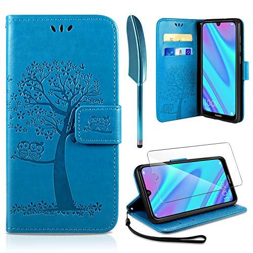 AROYI Huawei Y7 2019 Hülle, Handyhülle Huawei Y7 2019 Hülle Tasche Leder Flip Eule Baum Wallet Schutzhülle für Huawei Y7 2019 Blau