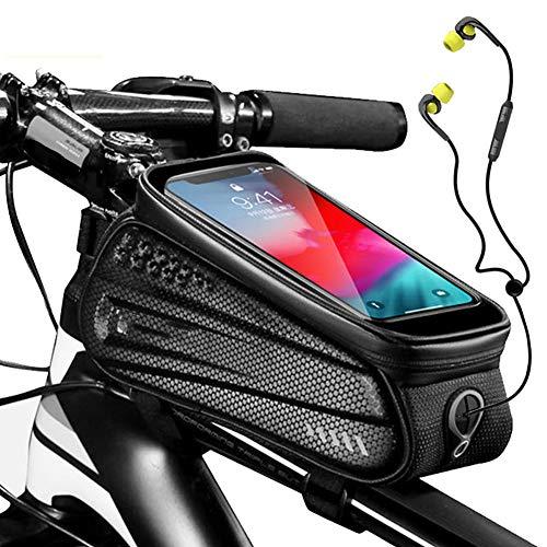 APPLL Fahrrad-Telefon-Beutel, TPU Empfindliche Touchscreen-Oberrohrrahmentasche Radfahren Frontträger-Tasche Handyhalter -Geeignet Für 6,5-Zoll-Mobiltelefone