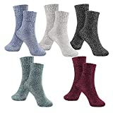PJRYC 5 Piezas de Medias de Damas de Invierno Suaves Medias Retro Calcetines Damas cálidas y cálidas Tejidas de Punto de Lana Calcetines de Las señoras (Color : Grey, tamaño : One Size)