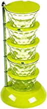 Seasoning Box Storage Vertical Multi-Layer 360-degree rotatable Kitchen Storage with Spoon Green