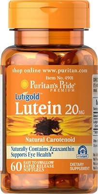 Puritan's Pride Puritans LUTIGOLD Lutein 20mg with Zeaxanthin - 60 Softgel Capsules - 1st CLASS P&P