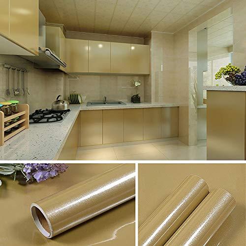 Papel Adhesivo para Muebles Brillante Oro Vinilo Pegatina para Muebles Impermeable 60cmX5m Decorativo Autoadhesivo Papel Pintado Cocina Baño Armario PVC